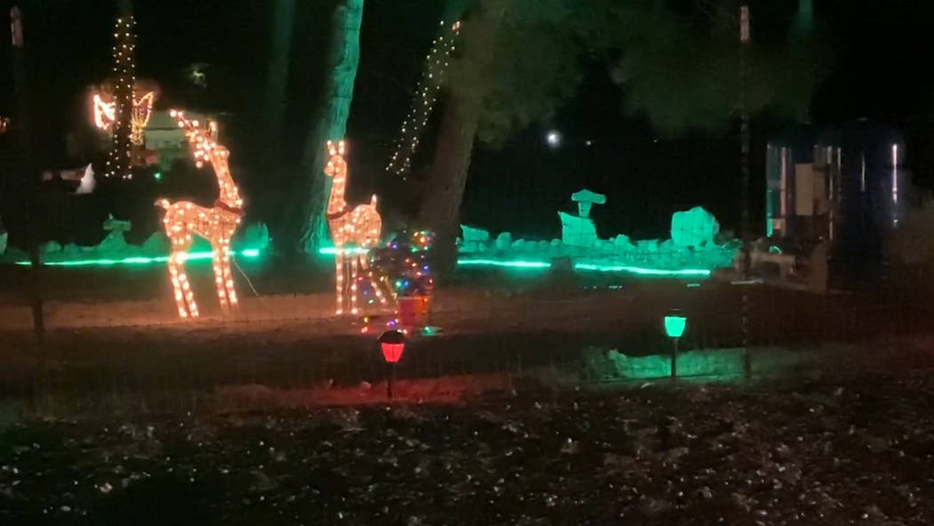 Jeffrey Meehan/Pahrump Valley Times A large display of Christmas lights can be seen while cruis ...