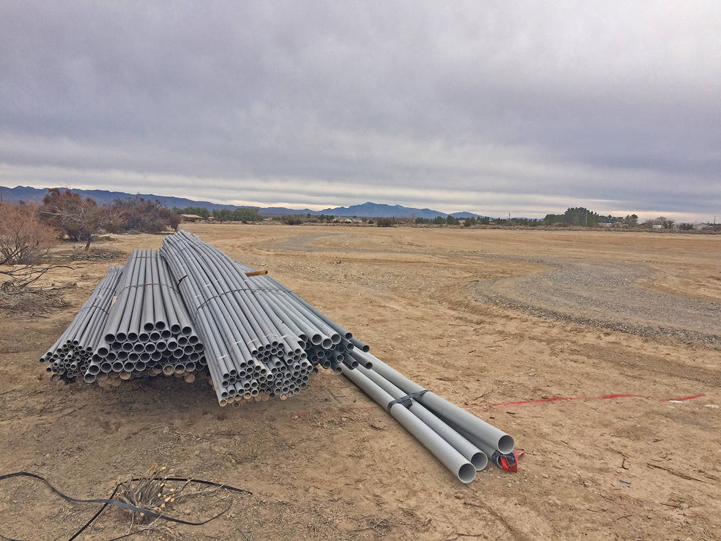 Robin Hebrock/Pahrump Valley Times Electrical conduit has been dropped off at the Kellogg Park ...