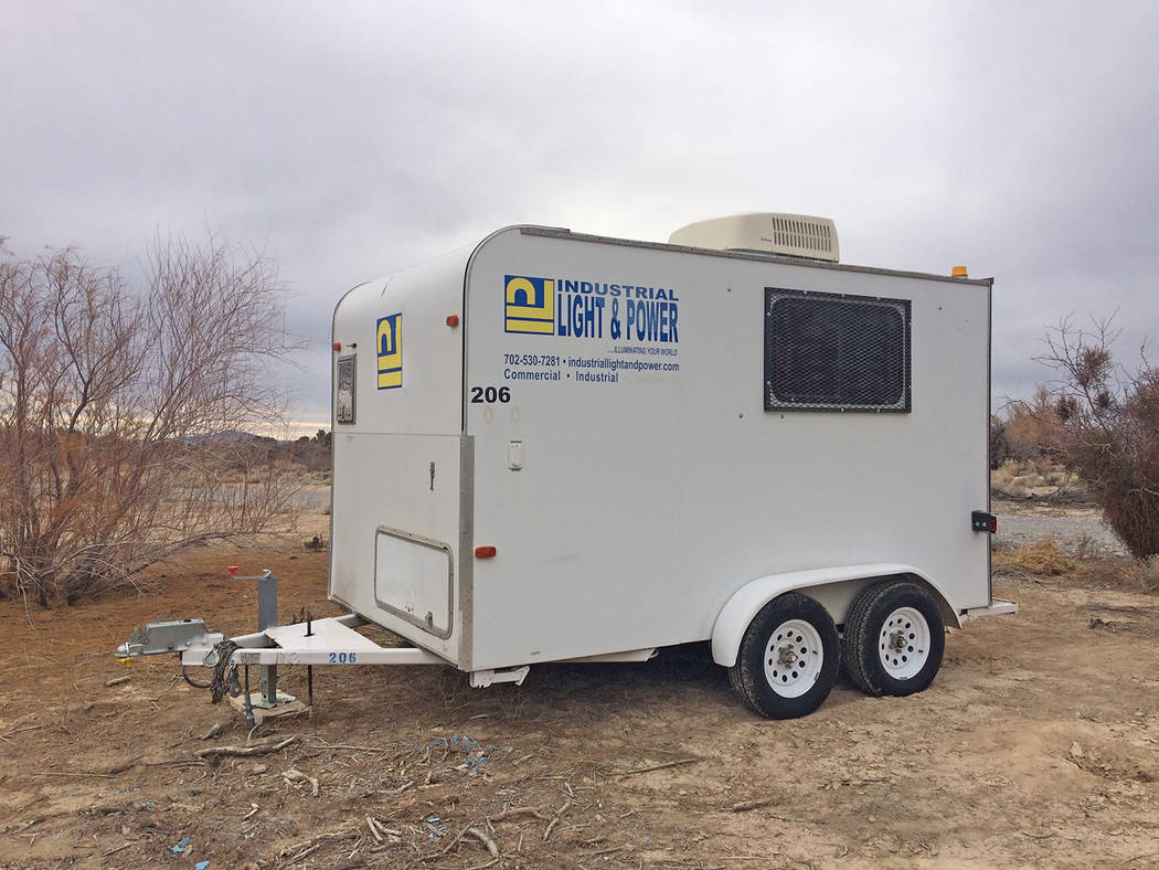 Robin Hebrock/Pahrump Valley Times A mini trailer for Kellogg Park contractor Industrial Light ...