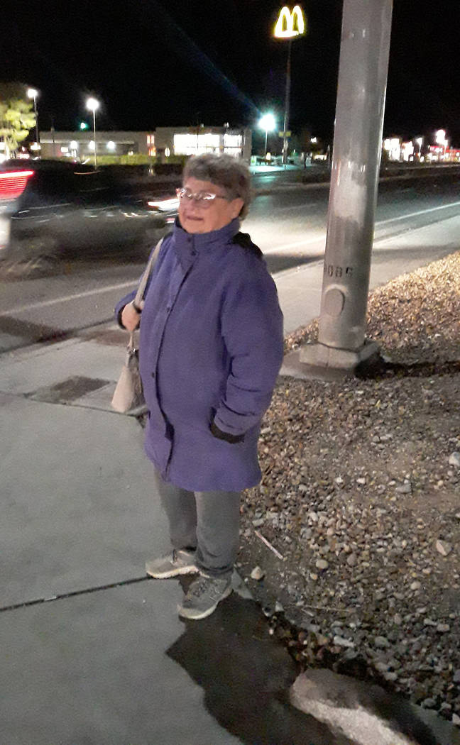 Selwyn Harris/Pahrump Valley Times Clad in a warm lavender coat, Patricia Marzoline, standing a ...