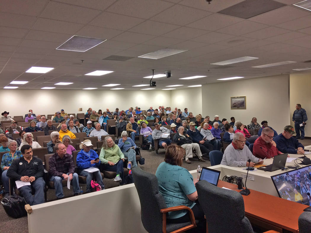 Robin Hebrock/Pahrump Valley Times The Nye County Commissioners' Chambers were filled on Tuesda ...