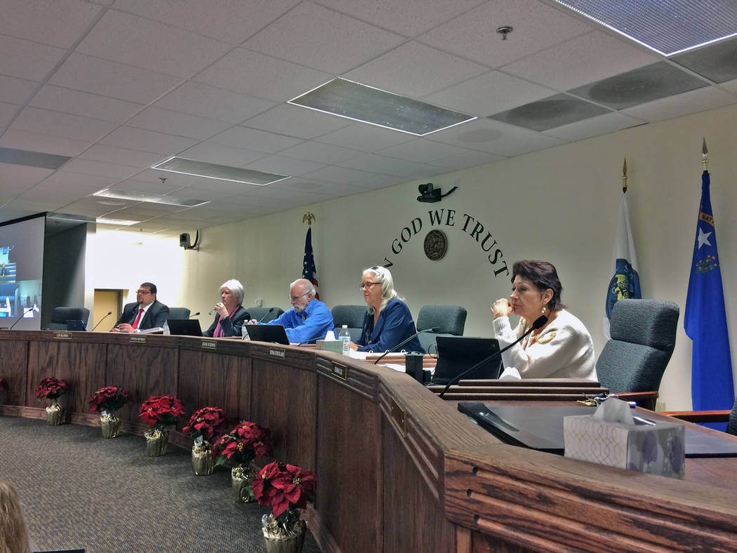 Robin Hebrock/Pahrump Valley Times The Nye County Commission is shown listening to the public s ...
