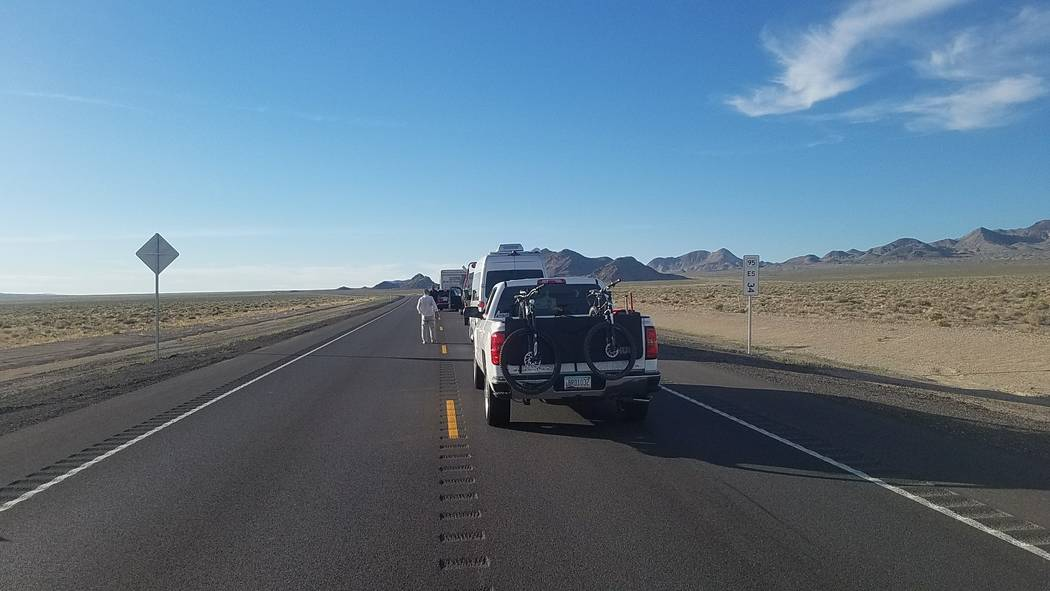 David Jacobs/Pahrump Valley Times Traffic stopped along U.S. Highway 95 between Goldfield and T ...