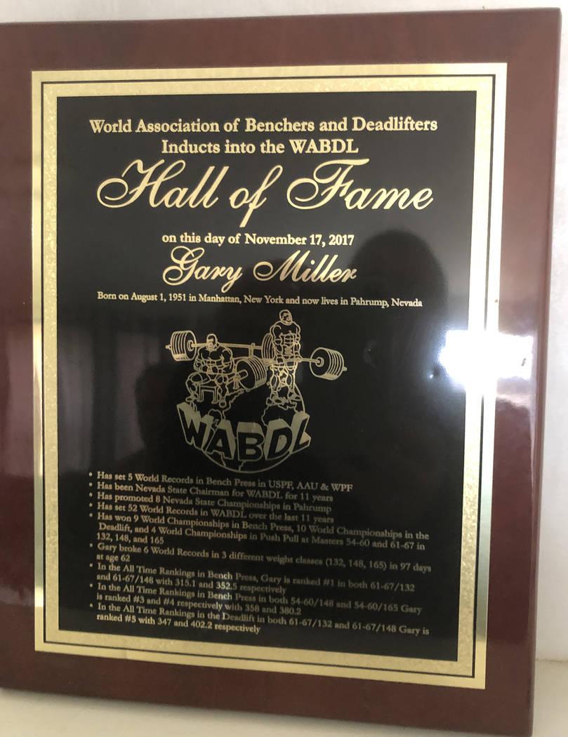 Tom Rysinski/Pahrump Valley Times On Nov. 17, 2017, Pahrump resident Gary Miller was inducted i ...