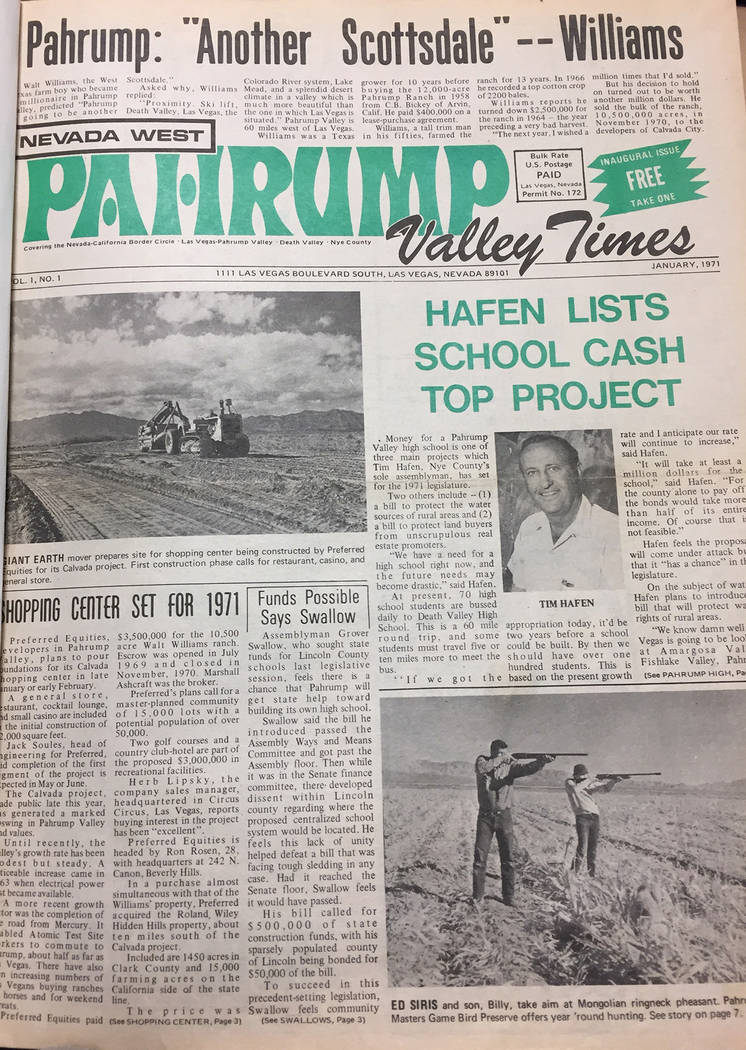 File Photo The front page of the first Pahrump Valley Times published in late December 1970. ...