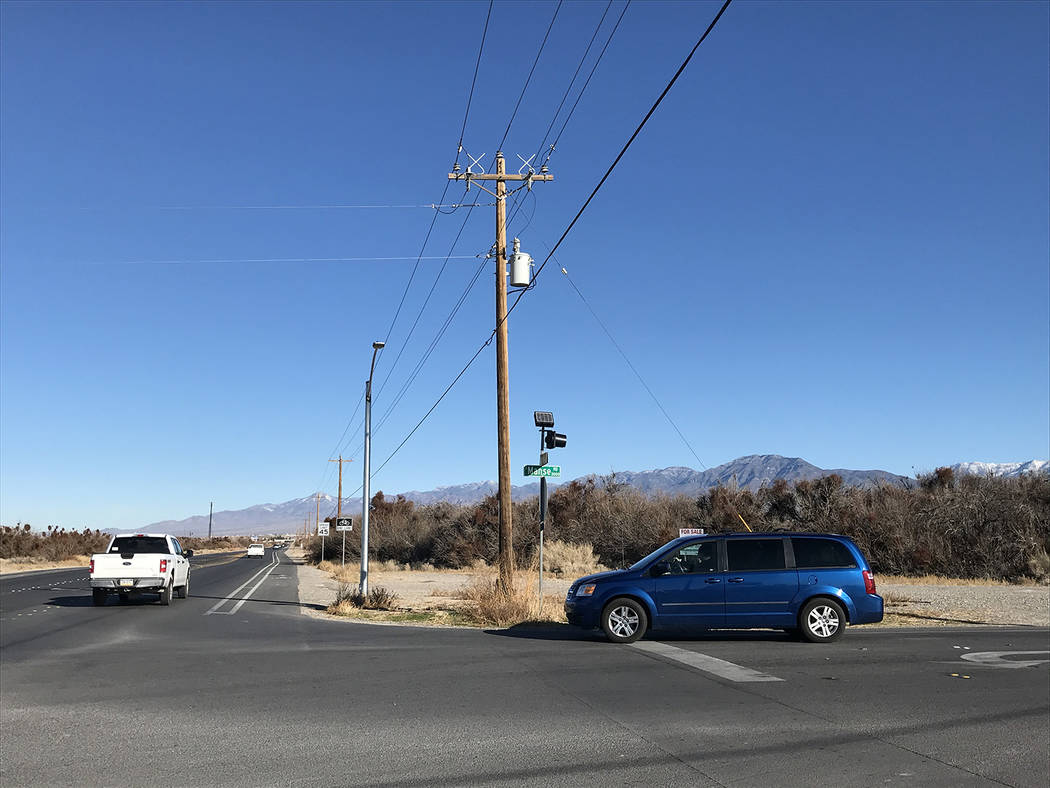Robin Hebrock/Pahrump Valley Times The busy corner of Homestead Road and Manse Road may one day ...