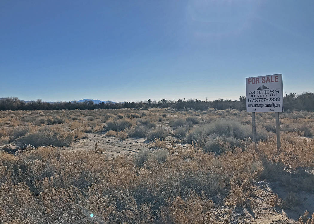 Robin Hebrock/Pahrump Valley Times The land seen here, located at the northeast corner of Homes ...