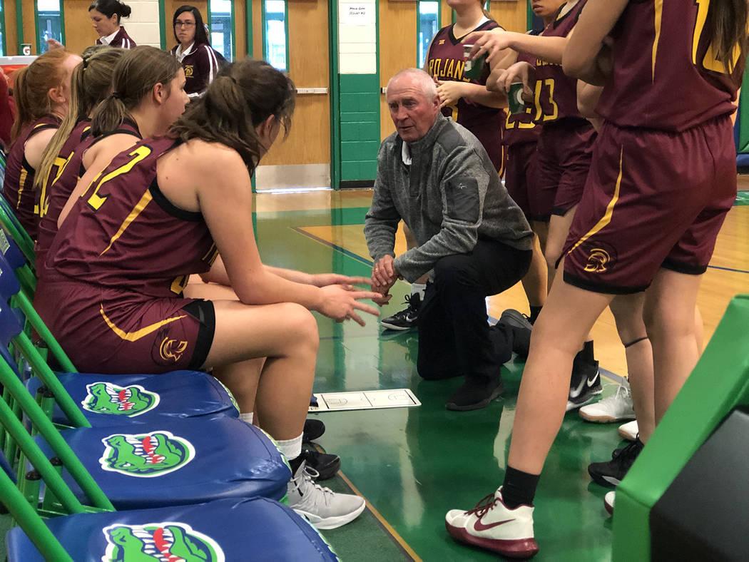 Tom Rysinski/Pahrump Valley Times Pahrump Valley High School girls basketball coach Bob Hopkins ...
