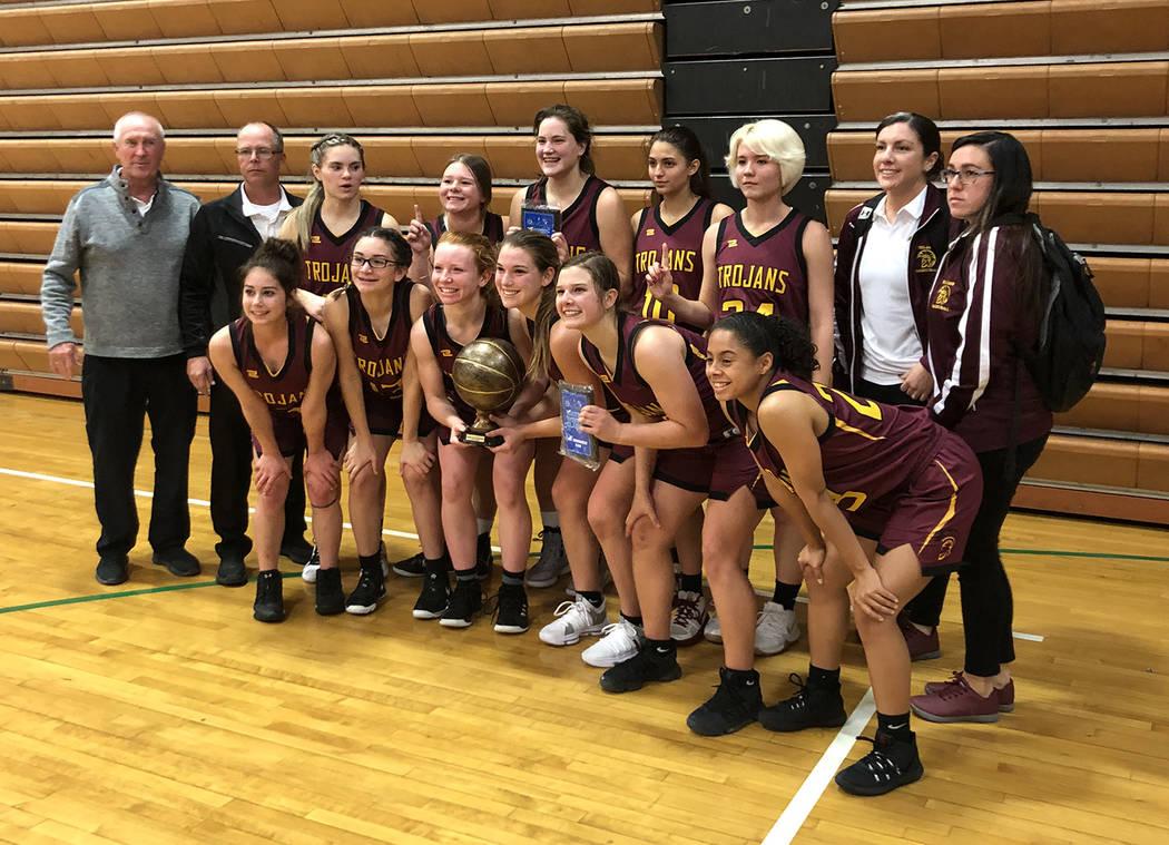 Tom Rysinski/Pahrump Valley Times The Pahrump Valley High School girls basketball team with the ...