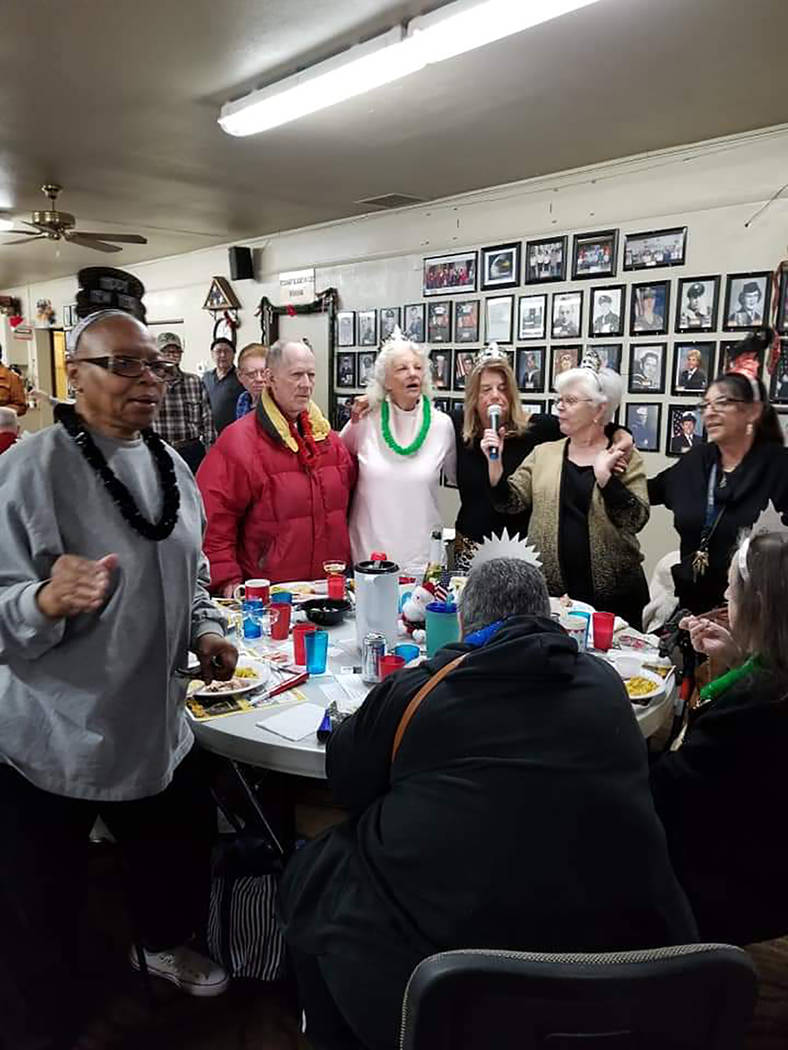 Special to the Pahrump Valley Times Pahrump Senior Center staff and guests belt out a rendition ...