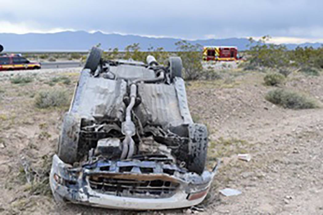 Special to the Pahrump Valley Times A look at a single-vehicle rollover crash along Nevada High ...