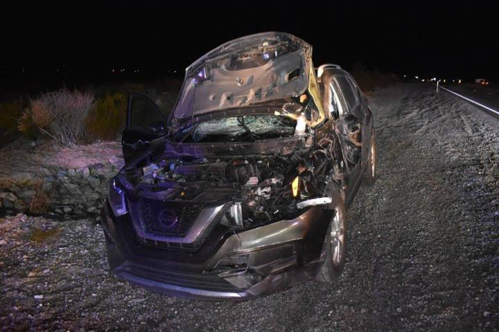 Special to the Pahrump Valley Times Fire crews were dispatched to Highway 160 at Irene Street o ...