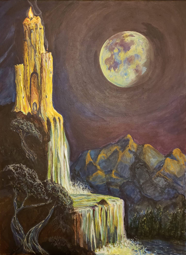 """Pahrump Arts Council """"Flow of Enchantment Acrylic 2018"""" by Geneil White as shown in an image pr ..."""