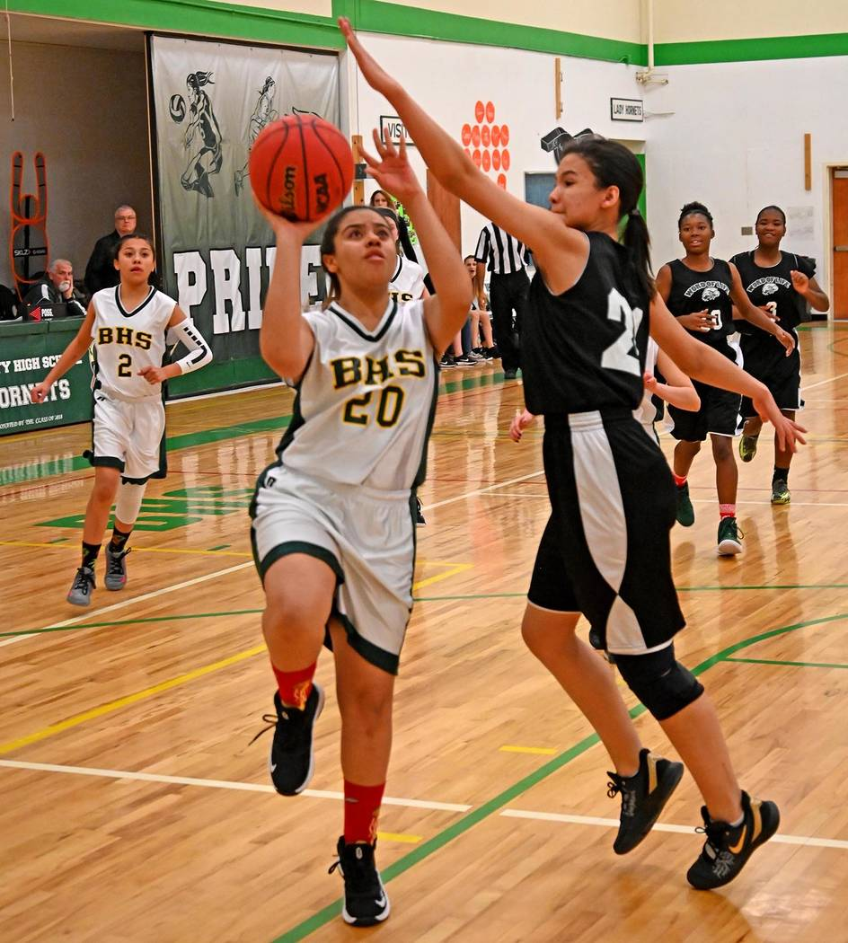 Richard Stephens/Special to the Pahrump Valley Times Beatty's Jasmine Wright goes up for a shot ...