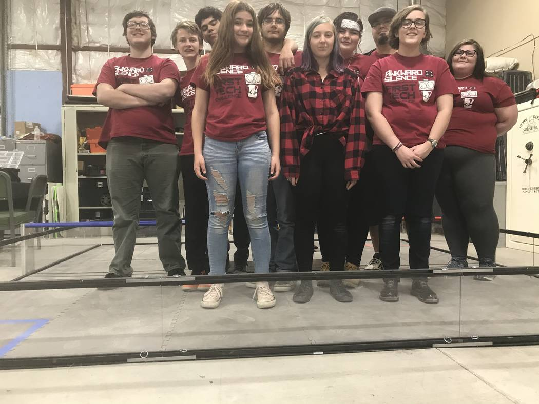 Jeffrey Meehan/Pahrump Valley Times Robotics team Awkward Silence stands in the ring at Pahrump ...
