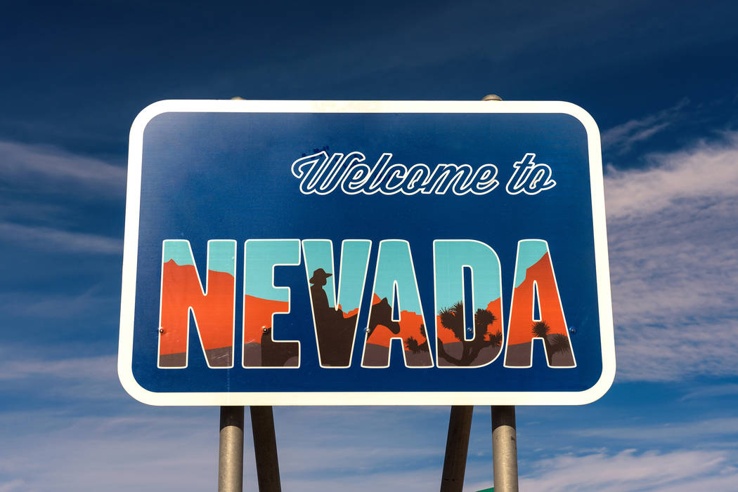 Special to the Pahrump Valley Times A Welcome to Nevada road sign along a highway near Death Va ...