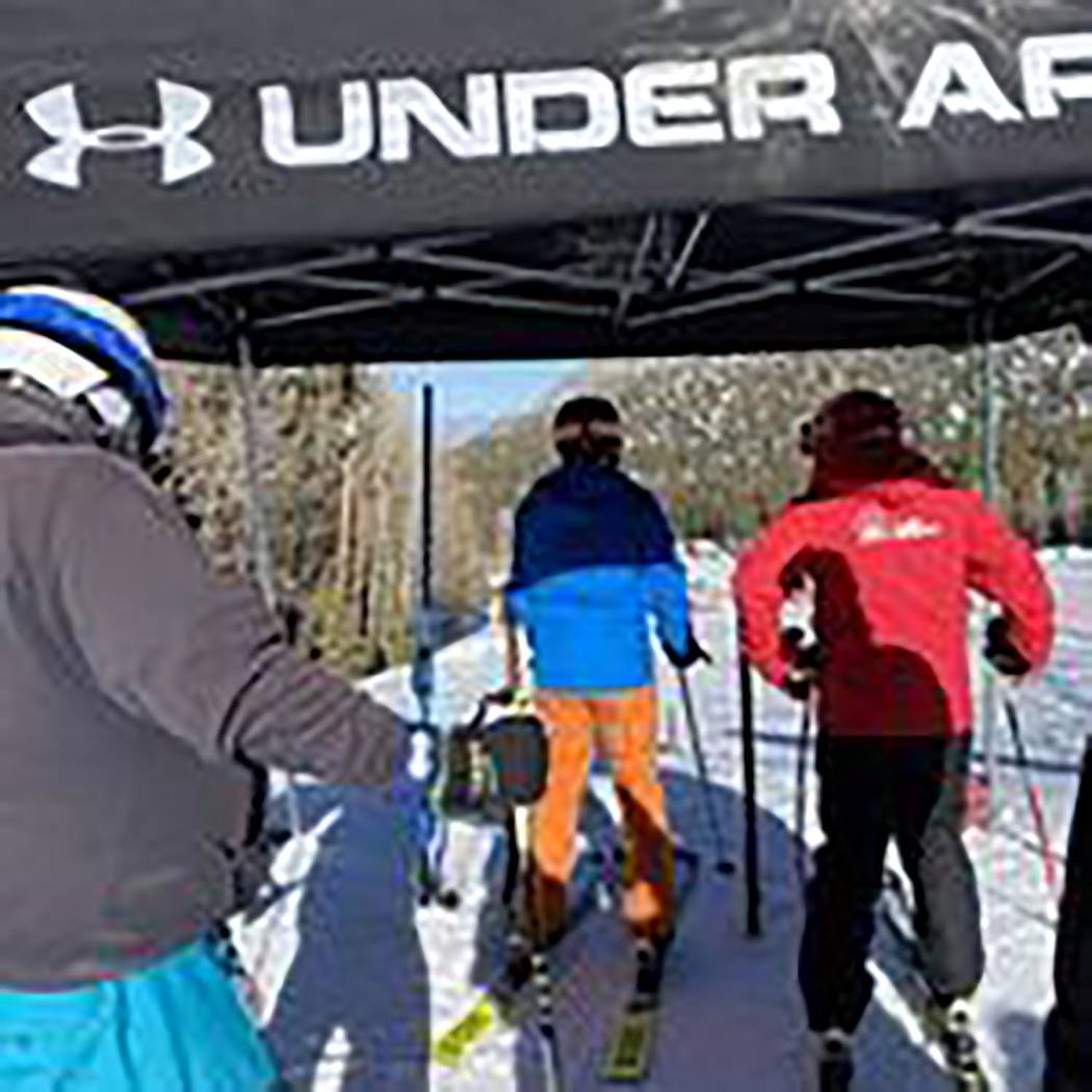Special to the Pahrump Valley Times Skiers wait their turn on the banked slalom course for Satu ...