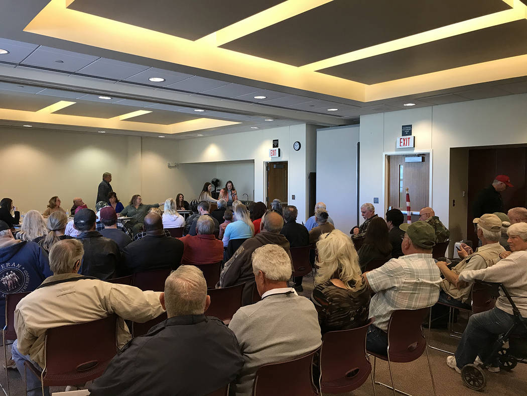 Robin Hebrock/Pahrump Valley Times A large crowd turned out for the Pahrump Library board's Jan ...