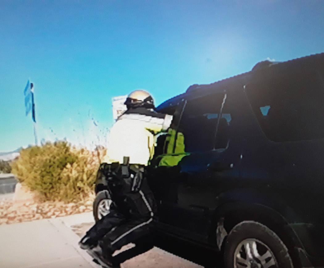 Selwyn Harris/Pahrump Valley Times Nye County Sheriff's Office motorcycle patrol deputy Britton ...