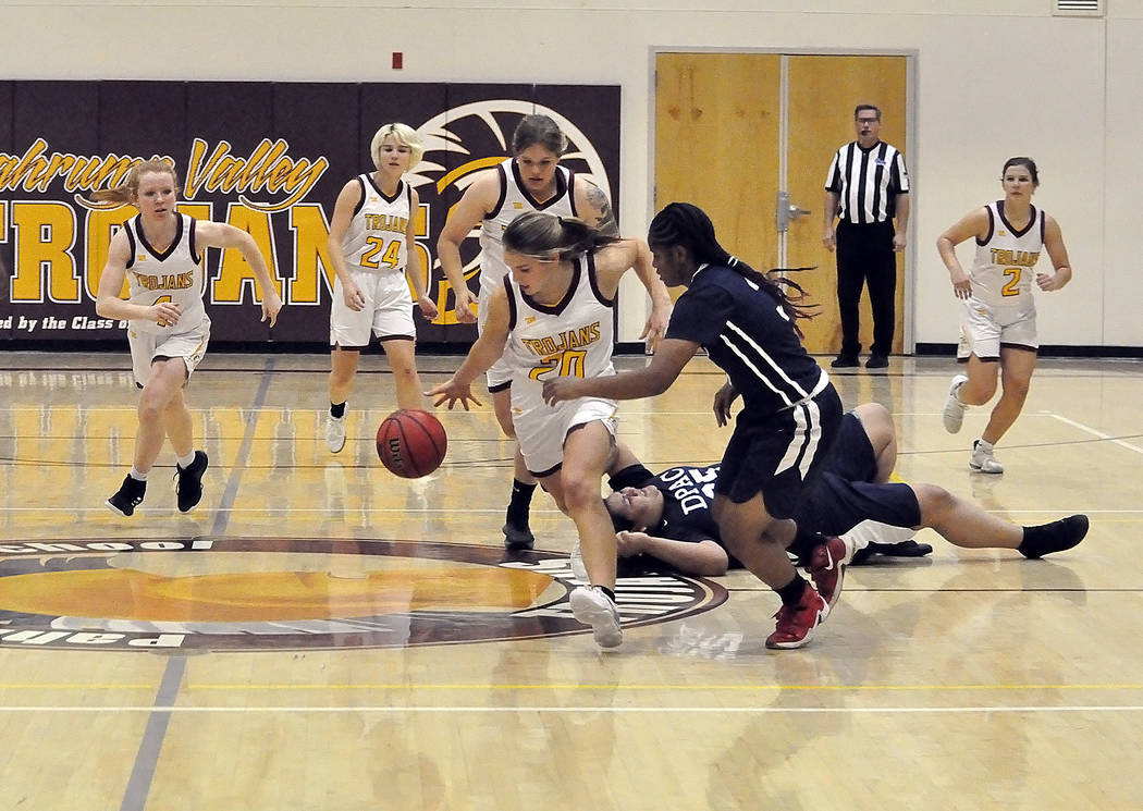 Horace Langford Jr./Pahrump Valley Times Pahrump Valley's Maddy Souza starts a fast break after ...