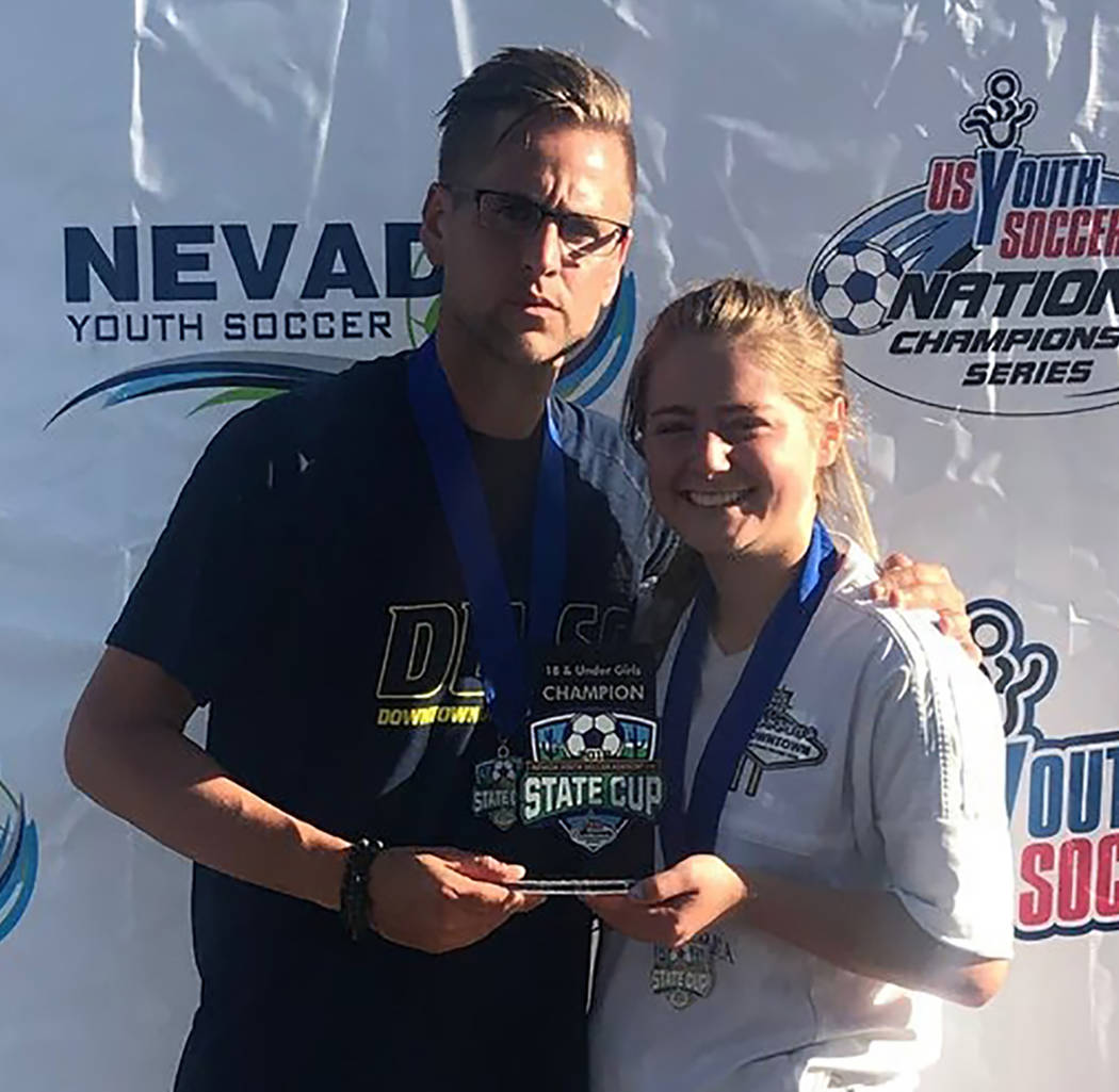 Rose Niles/Special to the Pahrump Valley Times Kathy Niles with Downtown Las Vegas Soccer Club ...