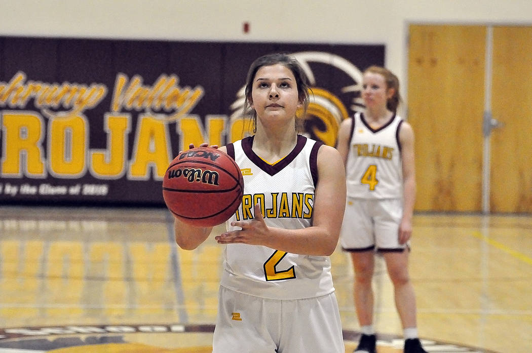 Horace Langford Jr./Pahrump Valley Times Pahrump Valley sophomore Tayla Wombaker, shown shootin ...