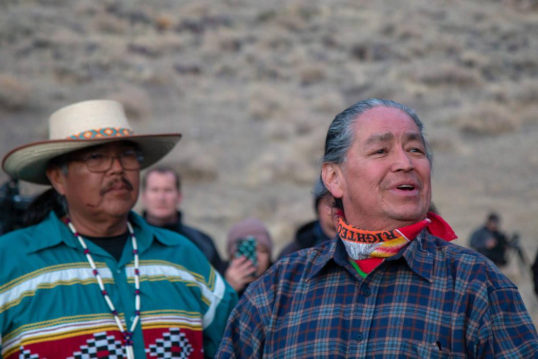 Colton Lochhead/Las Vegas Review-Journal Pyramid Lake Paiute Vice Chairman Alan Mandell, right, ...