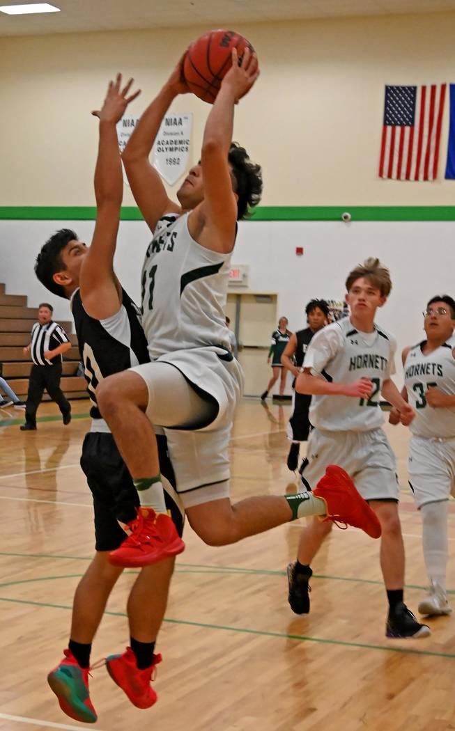Richard Stephens/Special to the Pahrump Valley Times Beatty senior Fabian Perez, shown going up ...