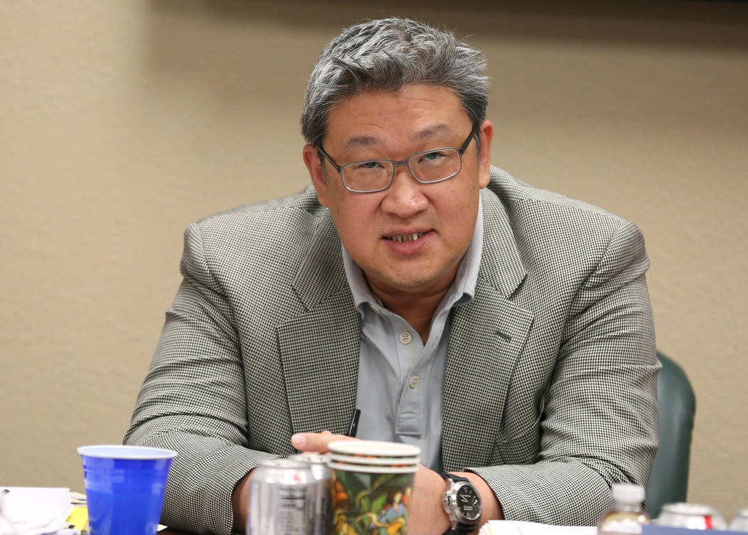 David Lee, the new secretary-treasurer of the Nevada Board of Dental Examiners, speaks during t ...