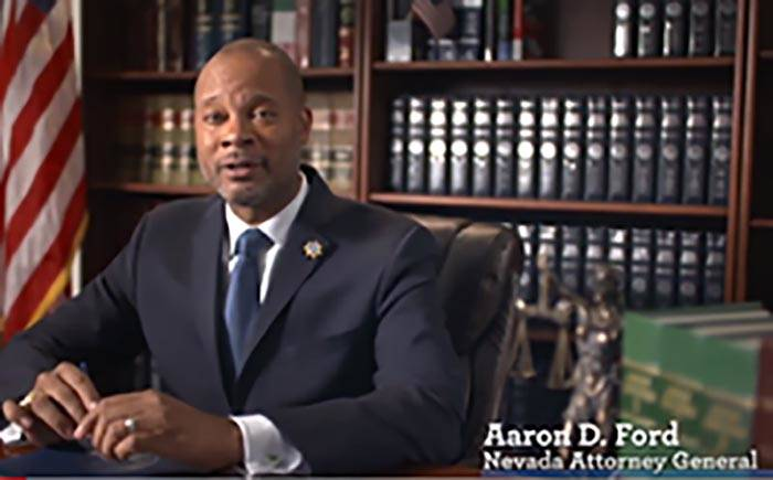 Screenshot/Nevada Attorney General's Office Nevada Attorney General Aaron Ford