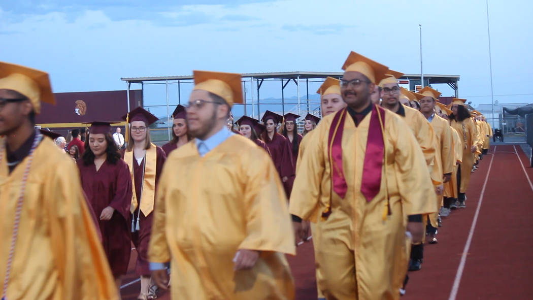 Jeffrey Meehan/Pahrump Valley Times The Class of 2019 at Pahrump Valley High School turns to he ...