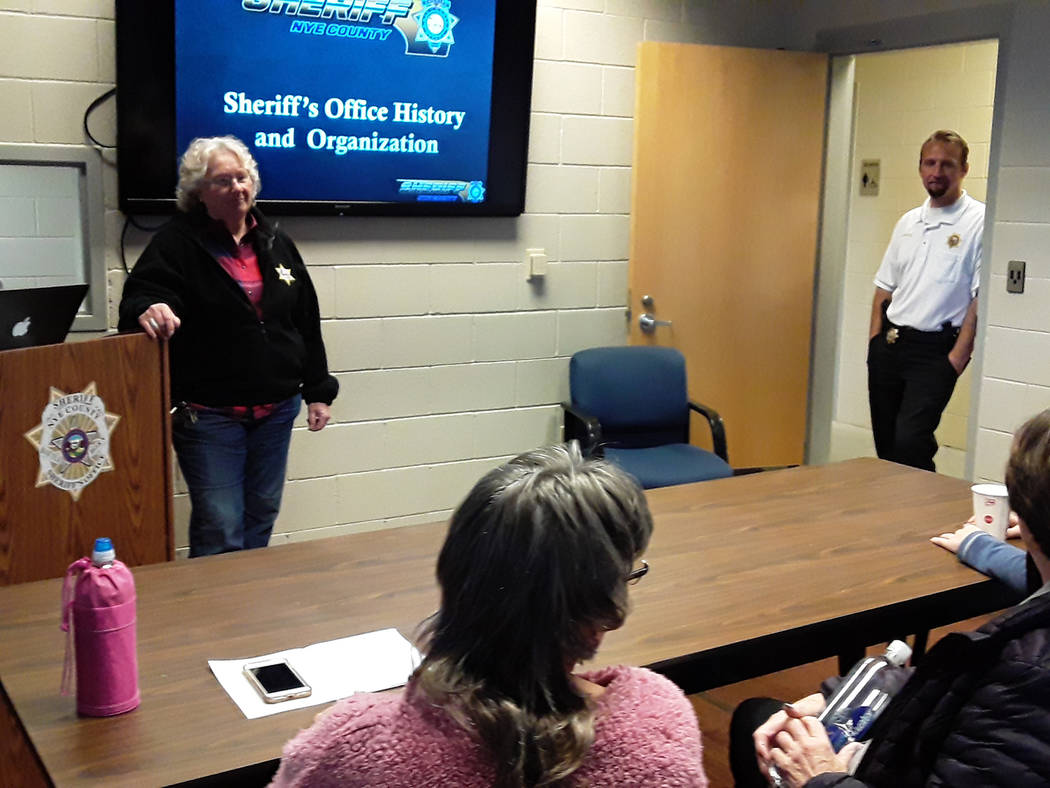 Selwyn Harris/Pahrump Valley Times Nye County Sheriff Sharon Wehrly said the 55 hour academy ea ...
