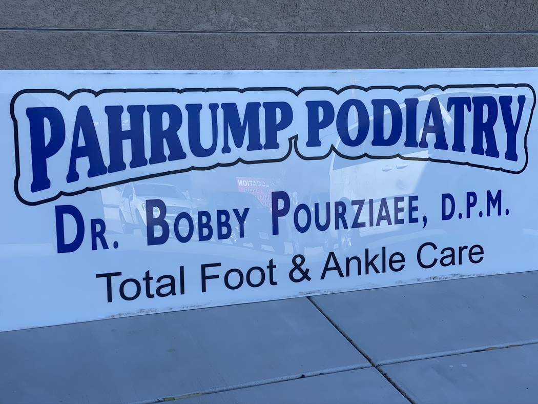 Jeffrey Meehan/Pahrump Valley Times A sign sits on the side of Pahrump Podiatry's new location ...