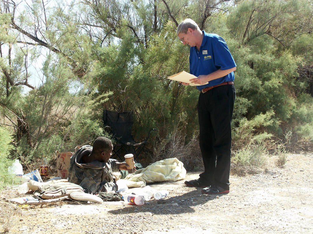 Selwyn Harris / Pahrump Valley Times - U.S. Vets representative Michael Goldberg assesses the c ...