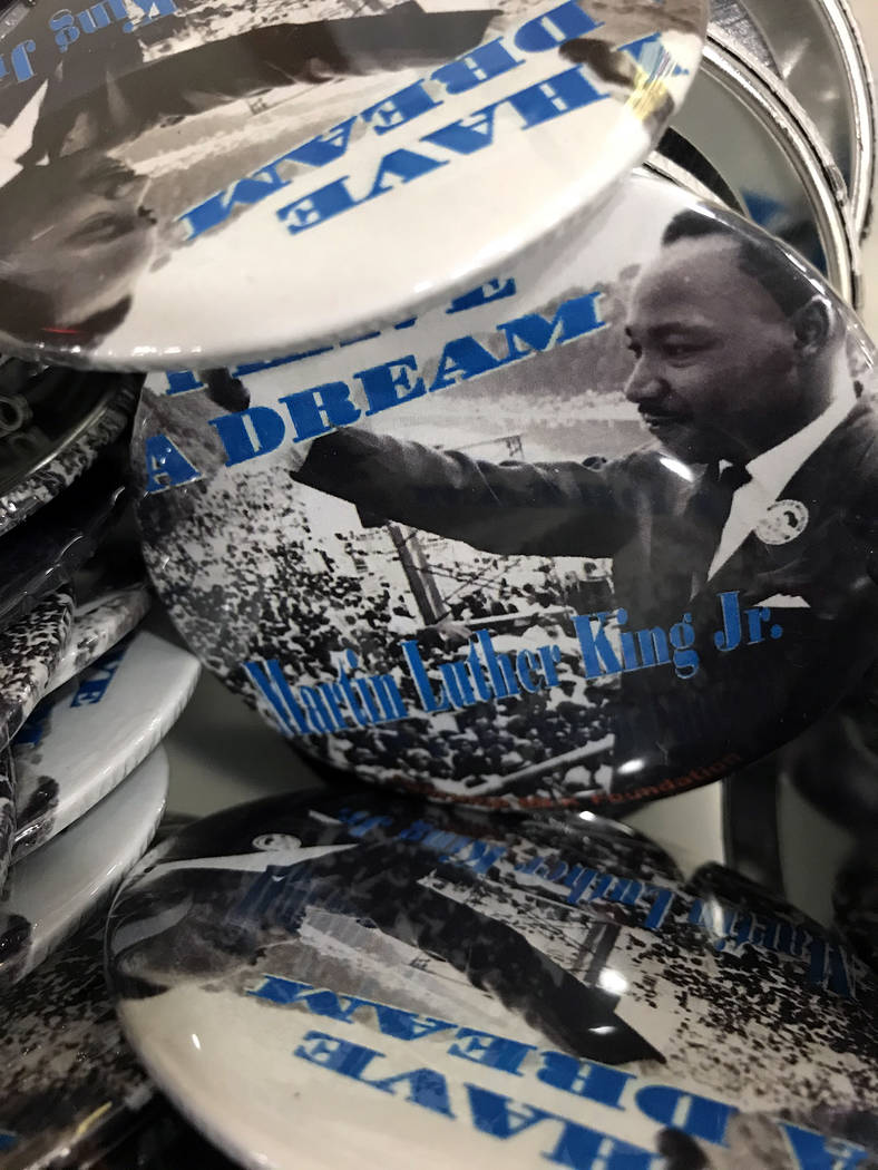 Robin Hebrock/Pahrump Valley Times A basket of buttons honoring MLK Jr. was available for atten ...