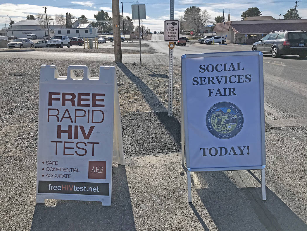 Robin Hebrock/Pahrump Valley Times Signs help guide attendees to the NyE Communities Coalition ...