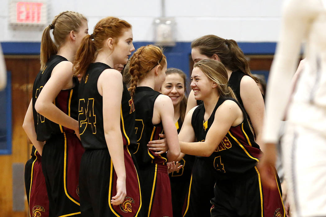 Special to the Pahrump Valley Times Pahrump Valley's Skyler Lauver (4) celebrates a teammate's ...