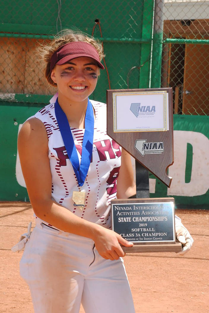 Special to the Pahrump Valley Times Then-junior Skyler Lauver holds the championship trophy aft ...