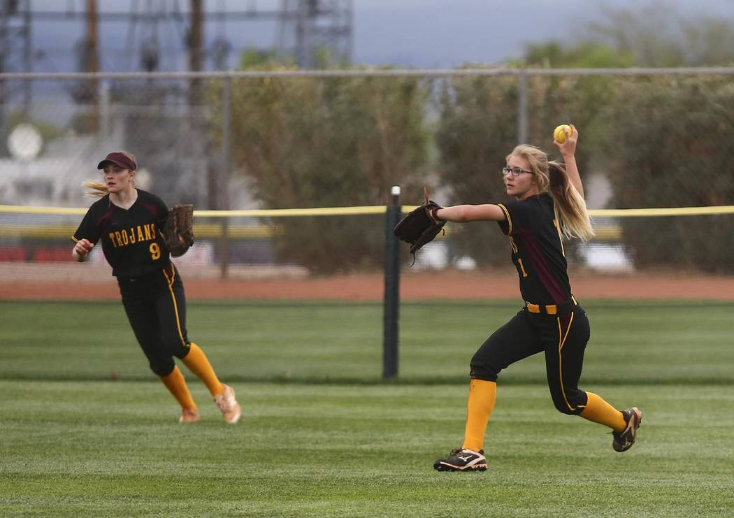 Special to the Pahrump Valley Times Pahrump Valley right fielder Terrena Martin, right, throws ...