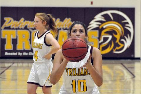 Horace Langford Jr./Pahrump Valley Times Junior Nicky Velazquez lines up a free throw during Pa ...
