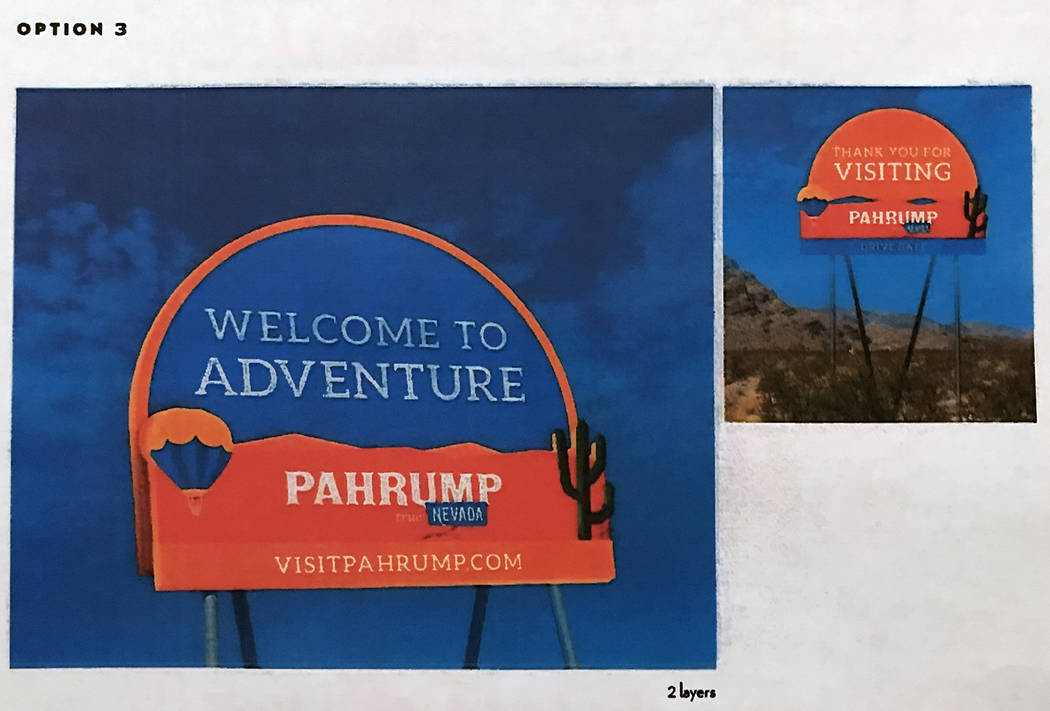 Robin Hebrock/Pahrump Valley Times Another rendering of an option for consideration for new sig ...