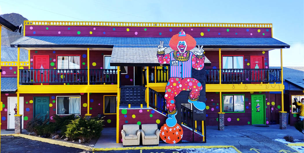 Hame Anand/Special to the Times-Bonanza A 19-foot-tall clown cutout sits near the office of the ...