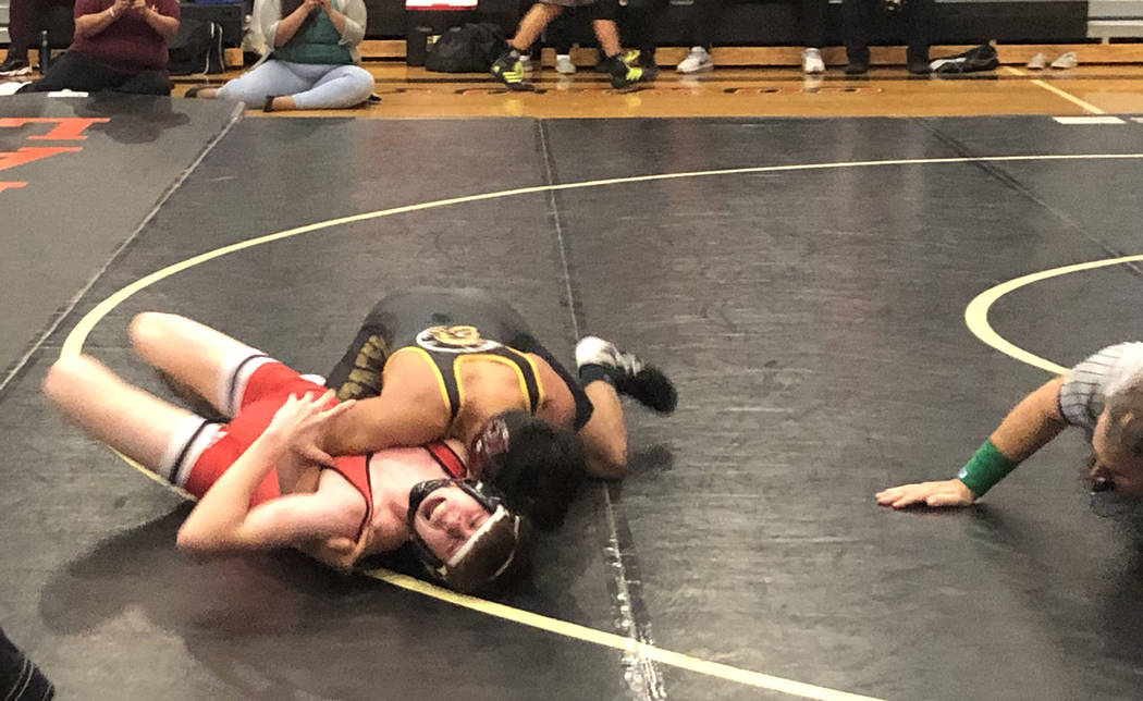 Tom Rysinski/Pahrump Valley Times Pahrump Valley sophomore Henry Amaya comes close to pinning A ...