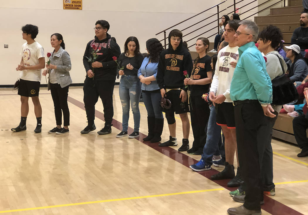 Tom Rysinski/Pahrump Valley Times Some of the seniors honored with their parents on Senior Nigh ...