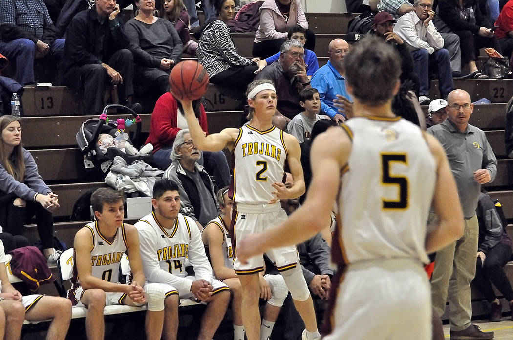 Horace Langford Jr./Pahrump Valley Times Senior guard Grant Odegard (2), looks to inbound the b ...