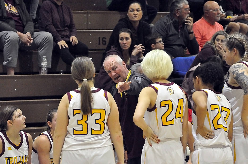 Horace Langford Jr./Pahrump Valley Times Pahrump Valley girls basketball coach Bob Hopkins gets ...