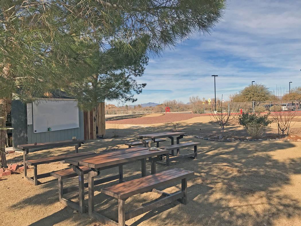 Robin Hebrock/Pahrump Valley Times The Floyd Elementary School Garden benches provide an outdoo ...