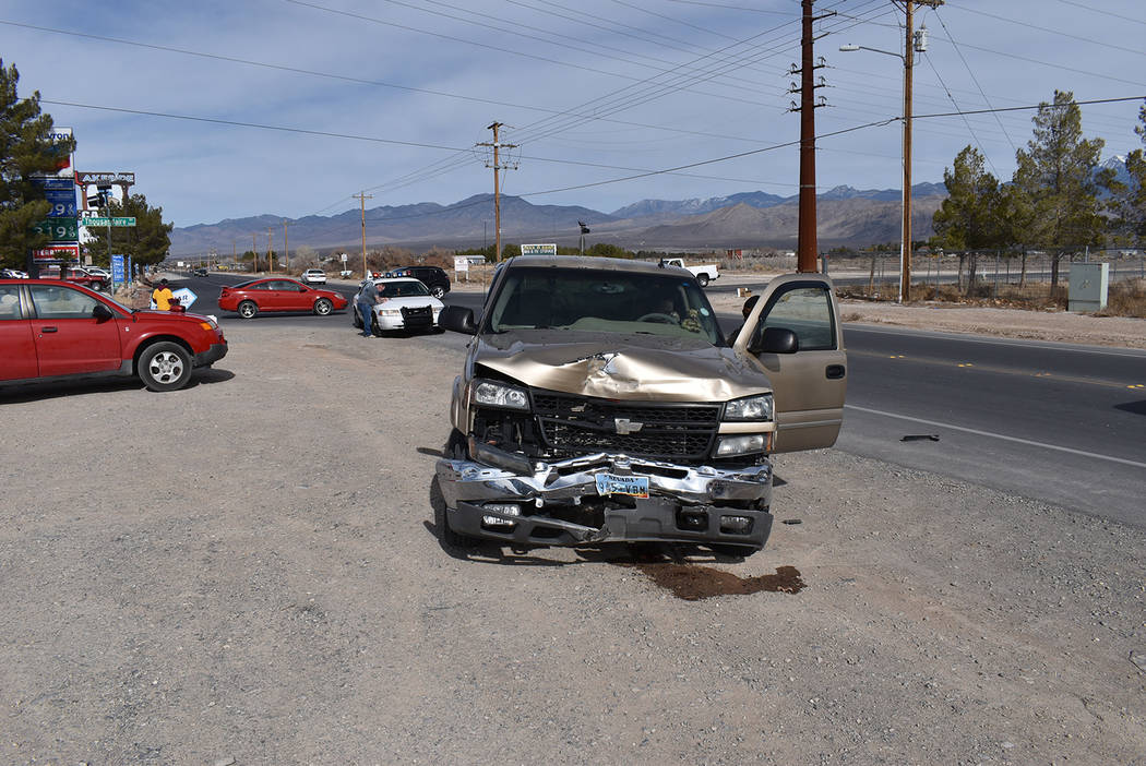 Special to the Pahrump Valley Times Pahrump fire crews responded to a two-vehicle crash along H ...
