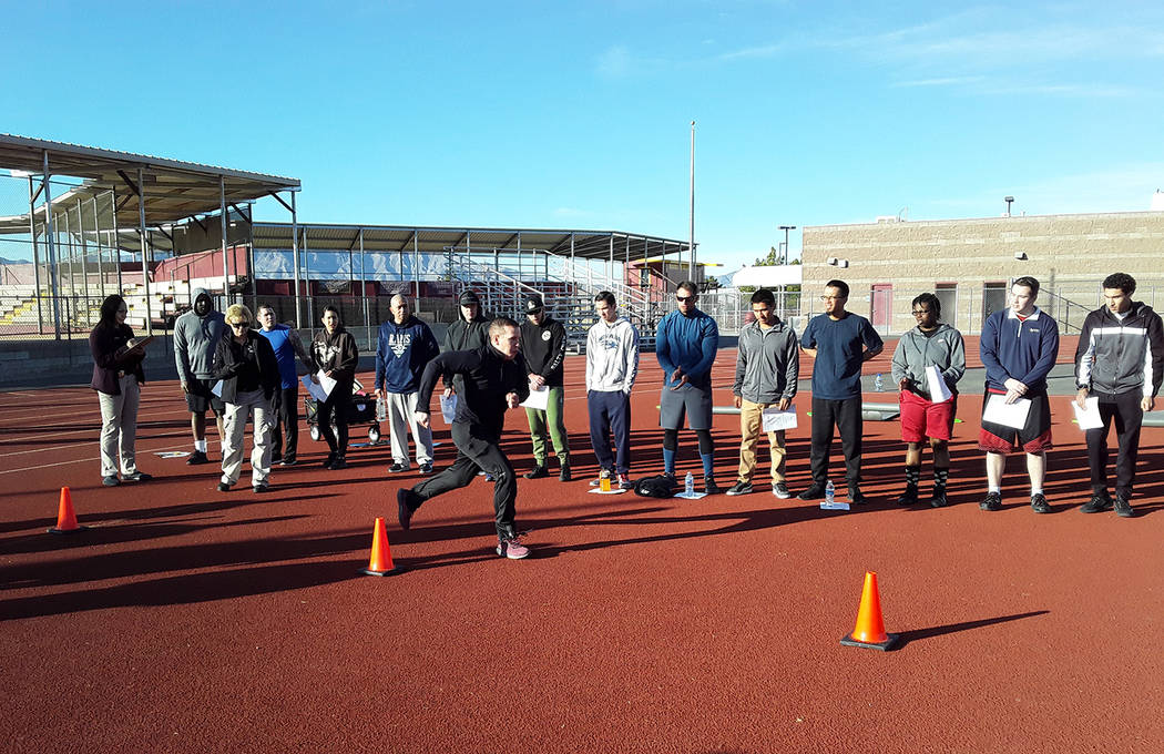 Selwyn Harris/Pahrump Valley Times Out of the two dozen candidates undertaking the fitness test ...