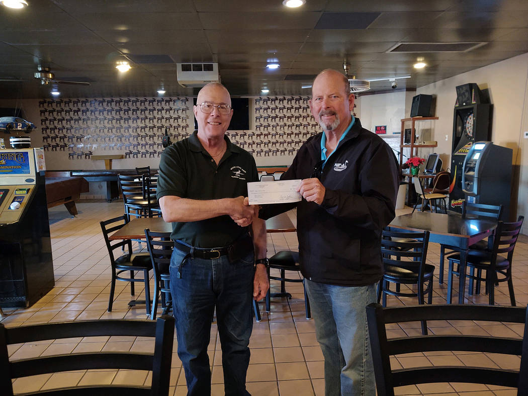 Special to the Pahrump Valley Times Pahrump Moose Lodge #808 member Dennis London, left, is pic ...